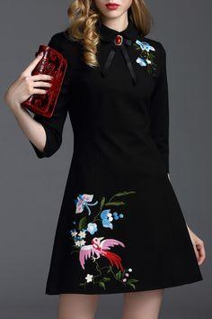 Snoewa Black Embroidered Bowknot Mini Dress | Mini Dresses at DEZZAL