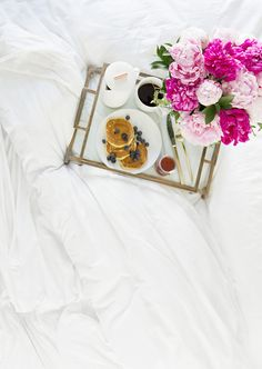 Breakfast in bed with pink peonies