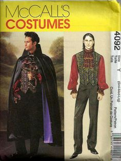 McCalls 4092    Size: S 34-36, M 38-40, L 42-44   C2003  Mens Vampire Lined Cape, Vest, Shirt and Jabot: Cape has collar, contrast lining and