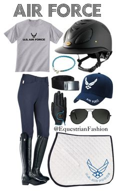 """Air Force"" by equestrianfashionofficial ❤ liked on Polyvore featuring Ray-Ban, Ariat, equestrian and airforce"