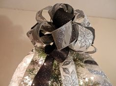 Lg Xmas Tree topper bow 3 ribbons white w/ by creativelycarole