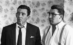 Kray Twins, August 6, 1966 London East End gangster twins Ronnie (right) and Reggie Kray are pictured after spending 36 hours helping the police with their inquiry into the murder of George Cornell. The brothers had formed a powerful protection racket in London and were notorious for their increasingly violent and erratic behaviour. They were eventually found guilty of murder in 1969 after a trial at the Old Bailey, where they had first appeared aged 17. In sentencing them to 30 years in a…