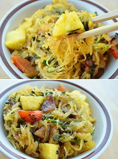 Here's a way of preparing spaghetti squash that I've never thought of! I haven't tried this recipe, but I love the concept! Thai Spiced Spaghetti Squash #vegan Veggie Dishes, Veggie Recipes, Asian Recipes, Whole Food Recipes, Vegetarian Recipes, Dinner Recipes, Cooking Recipes, Healthy Recipes, Veggie Meals