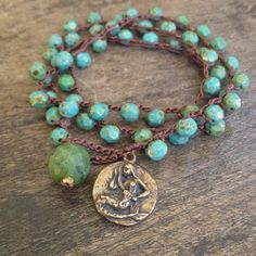 Personalized Photo Charms Compatible with Pandora Bracelets. Mermaid Turquoise Multi Wrap Knotted Bracelet by TwoSilverSisters, $38.00