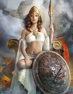 Athena (goddess of wisdom, war, strength, courage, inspiration, civilization, law and justice, mathematics, and the arts)
