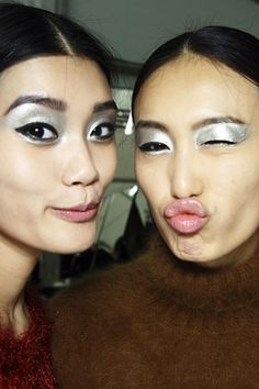 Backstage: Chanel...love this metallic eyeshadow, bold futuristic makeup paired with Chanel classic tweed