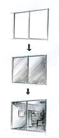 窓の描き方 手描きパースの描き方 建築パース パース インテリアデザインのスケッチ
