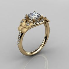 Yellow Gold & White Sapphire Diamond Boho Ring for Helea...