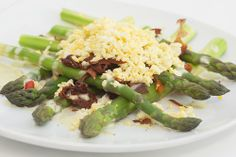 Local Delta Asparagus Spear Salad with             chopped egg, prosciutto crisps,  drizzled with a lemon tarragon Dijon dressing @Crocker Art Museum Cafe