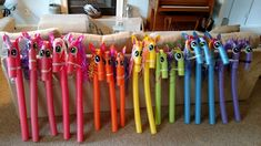 My Little Pony Pool Noodles: one more shot of them! My Little Pony Party, Cumple My Little Pony, My Little Pony Unicorn, Rainbow Unicorn Party, Rainbow Birthday, 4th Birthday, Horse Party, Cowgirl Party, 5th Birthday Party Ideas