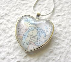 Michigan. World Traveler Heart Shaped Map Necklace  by TheGreenDaisyShop, $20.00...I WANT THIS!!!
