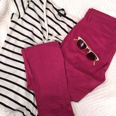 Magenta Skinny Jeans These are super soft but not particularly stretchy skinnies. They're so cute, comfortable and give a boring outfit a fun pop of color! The run a bit long. Pants Skinny