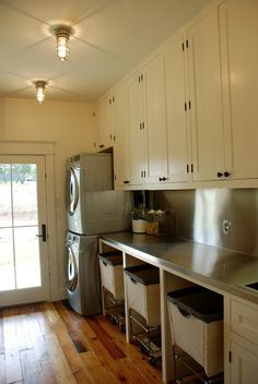 laundry room - stackable units and upper cabinets - lighting fixtures and flooring