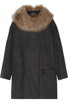 Brunello Cucinelli Shearling-trimmed wool and cashmere-blend coat | THE OUTNET