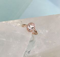 Champagne Peach Sapphire 14k Rose Gold Diamond by PristineJewelry, $900.00