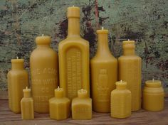 This seller makes organic beeswax candles using molds cast from antique glass bottles.  All-around cool, in my book :D!