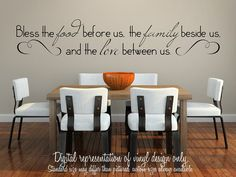9x48 Wall Vinyl Decal Bless the food by SomethingSortaCrafty