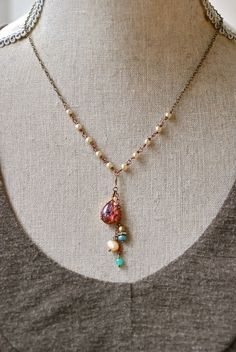 Marissa. ruby red , harlequin, opal,pearl beaded necklace. tiedupmemories