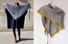 elcuadernodeideas: Chal triangular with colored tassels Crochet Quilt, Crochet Shawl, Crochet Hooks, Knit Crochet, Knitting Yarn, Knitting Patterns, Loop Scarf, Knitting Accessories, Knitting For Beginners