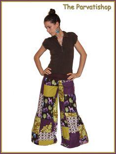 pantalon pattes d'eph boheme, faon, patchwork, gipsy, bohemian, hippie, bobo