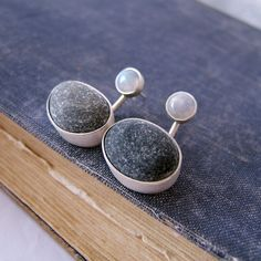 These ear jacket earrings are made of sterling silver wiyh use of beach pebble and rainbow moonstone.The beach stones are different color. Sea Glass Jewelry, Stone Jewelry, Handmade Sterling Silver, Sterling Silver Bracelets, Moonstone Earrings, Stud Earrings, Key Pendant, Gift For Lover, Artemis