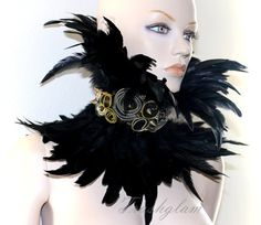 Labyrinth Noir Steampunk Tribal couture black feathered neck corset gold spikes zipper roses neck piece statement collar