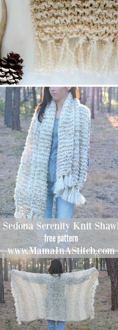Sedona Serenity Knit Shawl Free Knitting Pattern via @MamaInAStitch This beginner friendly pattern works up quick and easy! #diy #scarf
