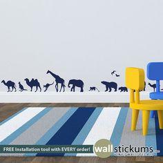 Safari Wall Decal Set of 34 Safari Animals Vinyl Safari
