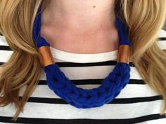 DIY Chunky Finger Knit Necklace with #Fettuccini from the Thanks I Made It blog