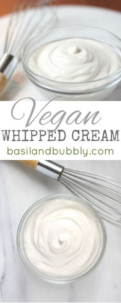 Delicious, creamy, decadent, raw and vegan whipped cream recipe A rich, thick dairy-free cashew whipped cream will add a little something special to any dessert! Healthy Vegan Dessert, Vegan Dessert Recipes, Vegan Treats, Cashew Recipes, Nutella Recipes, Vegan Food, Vegan Whipped Cream, Cashew Cream, Vegan Cream Cheese