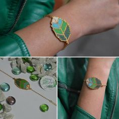 """14 Me gusta, 1 comentarios - D'Art Accesorios (@accesorios_d_art) en Instagram: """"Pulsera 🍃 Hoja... Me. Encanta! 😍Y a ti? Luce diferente, luce y vive la. Moda D'Art. #delicasmiyuki…"""" Seed Bead Patterns, Peyote Patterns, Jewelry Patterns, Bracelet Patterns, Beading Patterns, Seed Bead Jewelry, Beaded Jewelry, Handmade Jewelry, Bead Loom Bracelets"""