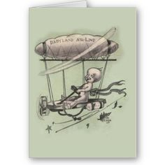 Vintage New Baby Greeting Card  Something uniquely different. A gorgeous greeting card for a new baby. Featuring a baby piloting a flying contraption - Babyland Air Line. The inside of this card has been left blank for your special message