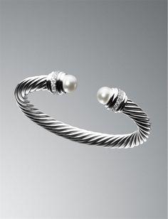 David Yurman cable bracelet with pearl endcaps.