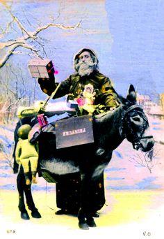 Le Père Noël et son âne chargé de cadeaux dans la campagne enneigée (from http://mercipourlacarte.com/picture?/1443/)