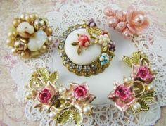 Chic Pink Vintage Floral Rose Earring by alyssabethsvintage, $11.95