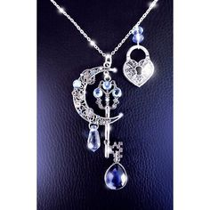 Silver key necklace, moon necklace, steampunk key necklace, filigree... ❤ liked on Polyvore featuring jewelry, necklaces, victorian silver jewelry, silver jewellery, sparkle jewelry, victorian jewellery and steam punk necklace