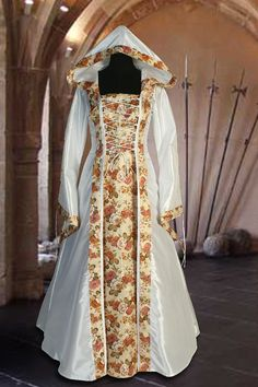 Medieval Dress in White Renaissance Flora flower dress Clothing hood handmade Renaissance Eleven Wedding Medieval Dress No.123