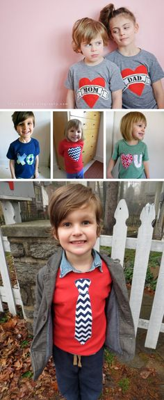{Handmade Valentine's Day T-shirts for Kids} How cute are these?!?