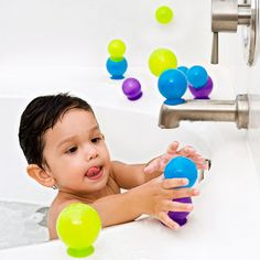 because rubber ducks are so last season ;) creative Bubbles stick to tub and to each other. Booninc.com