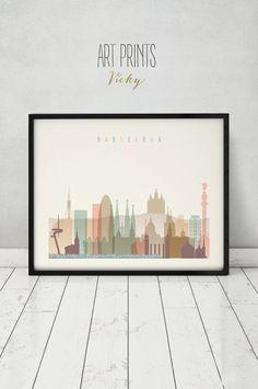 Barcelona impresión, cartel, arte de la pared, skyline de Barcelona España, ciudad cartel, arte de la tipografía, Home Decor, impresión Digital, impresiones de arte VICKY.