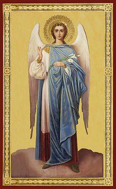 Saint Gabriel, Archangel Gabriel, Byzantine Icons, Angels Among Us, Angel Cards, Art Themes, Christian Art, Roman Catholic, Cherub