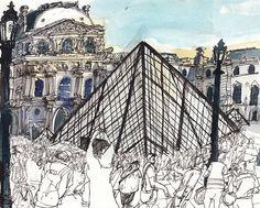 Musée du Louvre - Watercolor/Ink on Watercolor paper