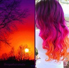 sunset colored hair for long wavy hair - Fittex bil-Google