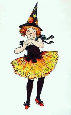 bumble button: Little 1920s Halloween Witch