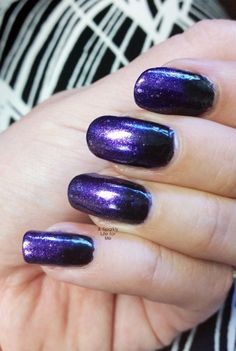 Purple and Black Gradient Nails – A Simple Halloween Nail Art Look Gradient Nails, Purple Nails, Ombre Nail, Galaxy Nails, Stiletto Nails, Best Nail Art Designs, Nail Designs Spring, Simple Nail Designs, Halloween Nail Designs