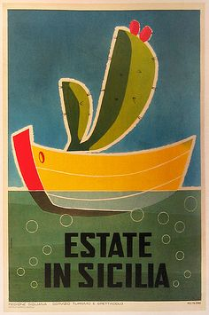 Estate in Sicilia (Summer in Sicily), ca. 1960. Cheerful vintage travel poster for Sicily with the local flora and a boat in the beautiful Mediterranean Sea!