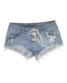 tempe; well worn cut-off denim short with a lace-up front closure & grinding details throughout. inseam: 2'' 98% cotton/ 2% spandex.