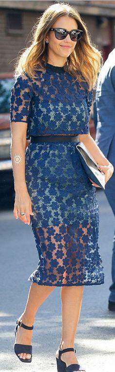 Jessica Alba; Dress – Self Portrait  sunglasses – Etro
