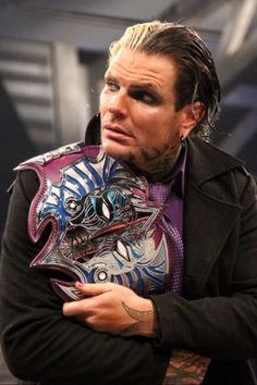 Jeff hardy with his new tna world heavyweight championship