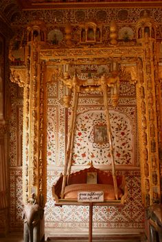 The 'Jhoola' [Swing] inside the Phool Mahal, Junagarh Fort, Bikaner, Rajasthan, India